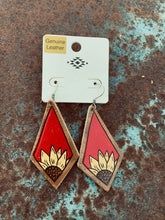 Load image into Gallery viewer, Red leather sunflower earrings