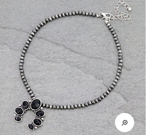 Black and silver squash choker necklace