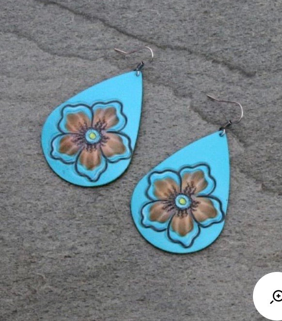 Turquoise tooled flower earrings