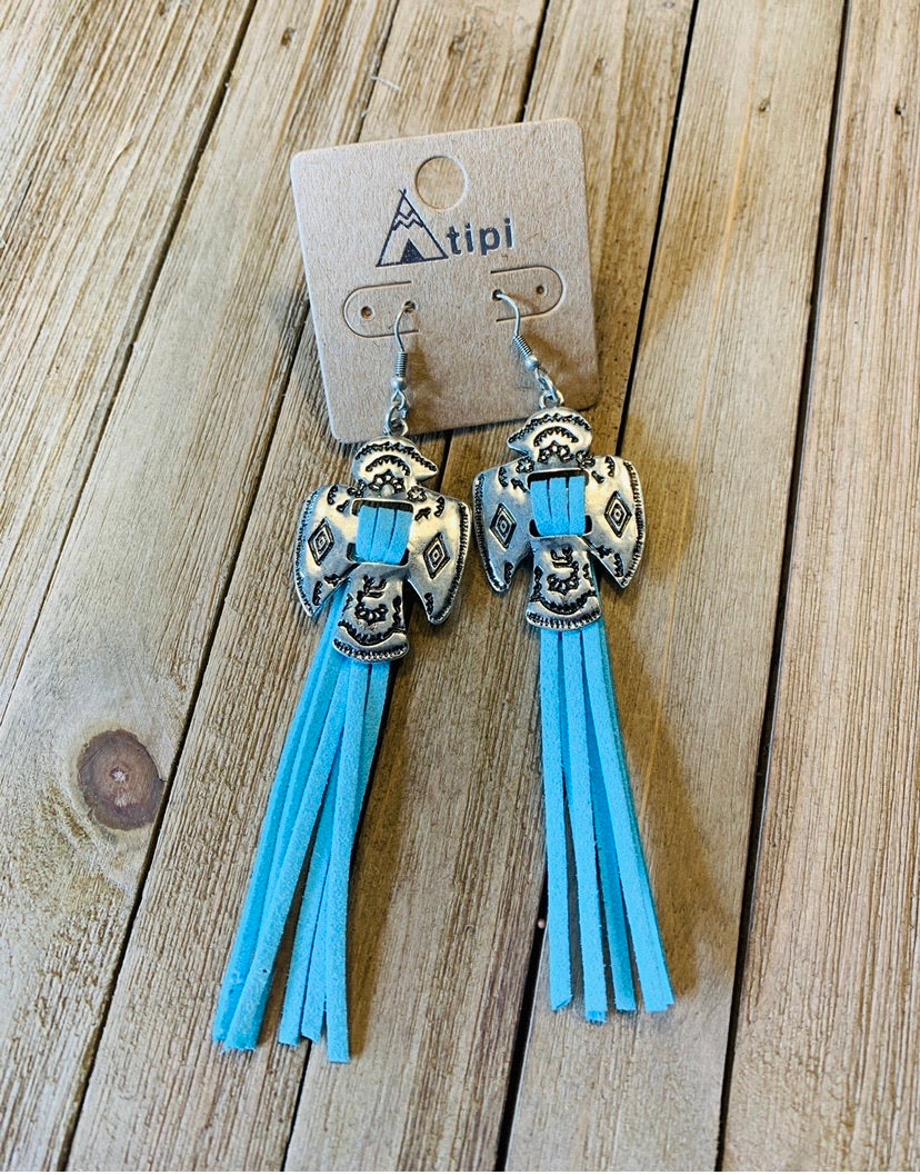 Turquoise fringe thunderbird earrings