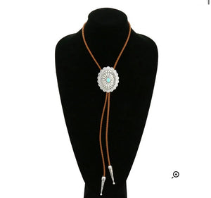 Natural turquoise bolo necklace