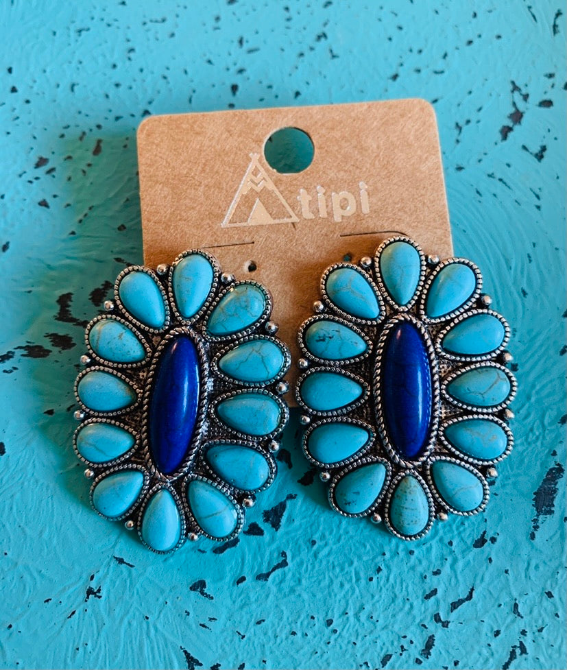 Turquoise and blue post cluster earrings