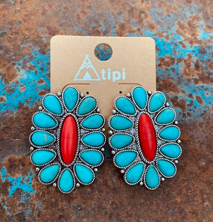 Turquoise and red cluster post earrings