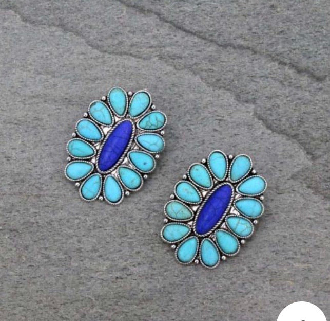 Turquoise and blue cluster post earrings