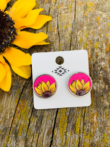 Pink leather sunflower post earrings
