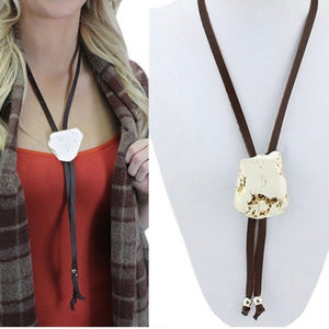 Brown and white slab bolo necklace