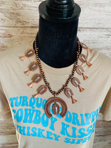 Bronze and white squash necklace set