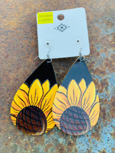Load image into Gallery viewer, Black leather sunflower earrings