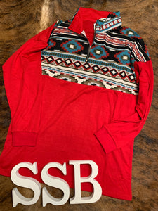 Red Aztec pull over