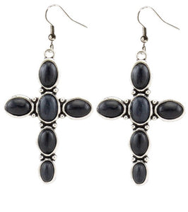Black cross earrings