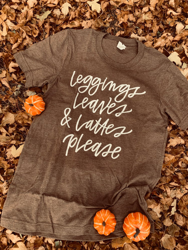 Leggings leaves and lattes plz tee (sale)