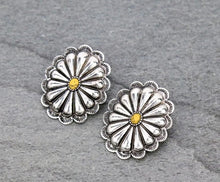 Load image into Gallery viewer, Silver and yellow concho earrings
