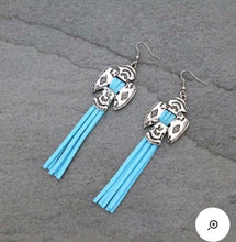 Load image into Gallery viewer, Turquoise fringe thunderbird earrings