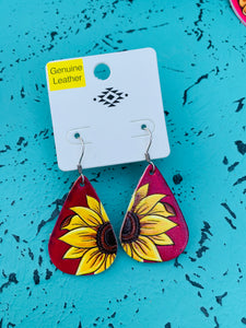 Red sunflower leather earrings
