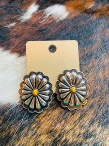 Silver and yellow concho earrings