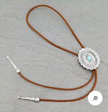 Load image into Gallery viewer, Natural turquoise bolo necklace