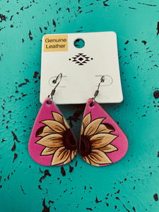 Pink leather sunflower earrings