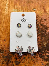 Load image into Gallery viewer, White cactus earring set
