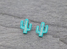Load image into Gallery viewer, Simple turquoise cactus earrings