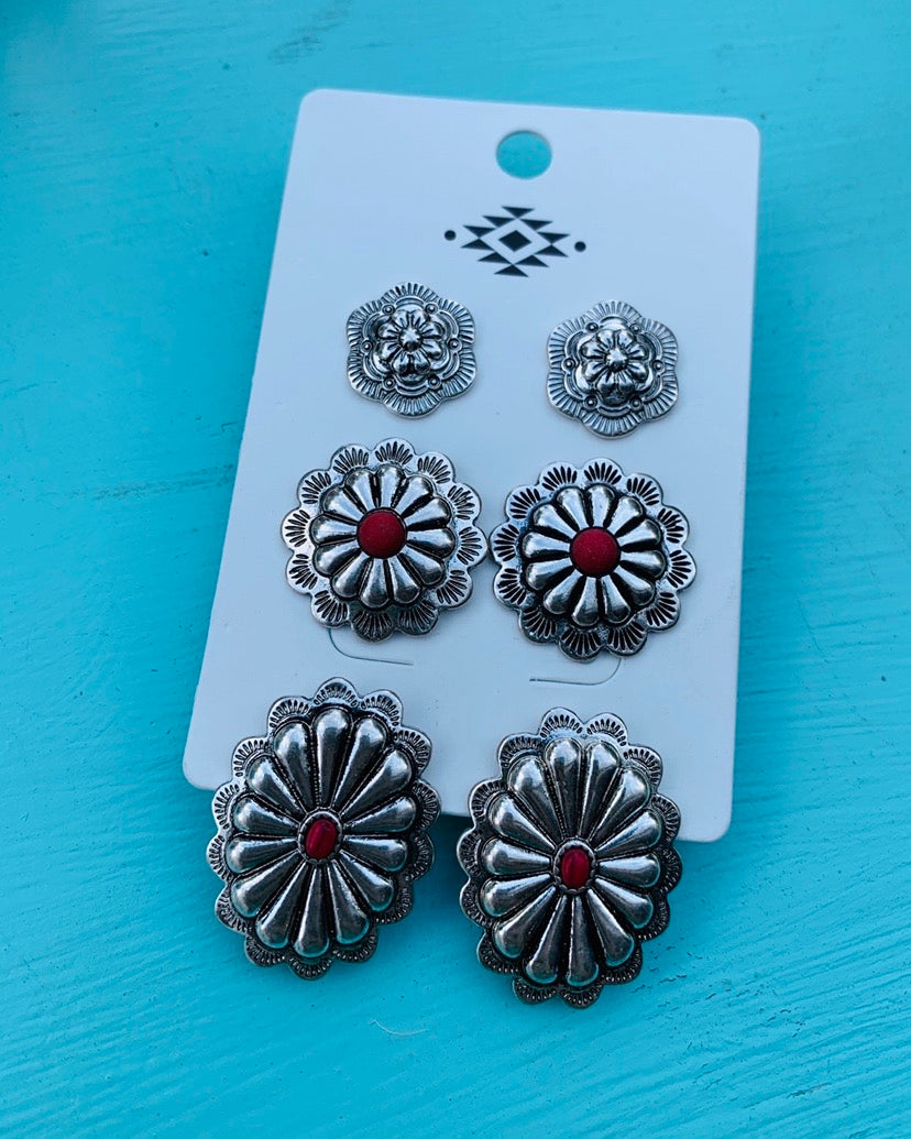 concho earring set