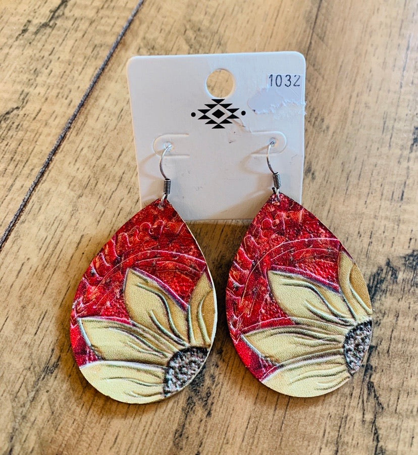 Red sunflower earrings