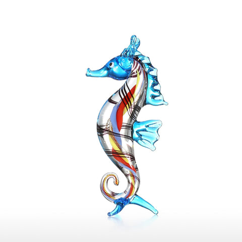 Tooarts Little Seahorse Sea Life Sculpture Wild Life Figurine Handmade Craft Hand Blown Glass Art Home Decor