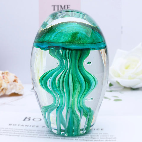 H&D Hand Blown Glass Art Jellyfish Paperweight Green Sea Animal Collectible Figurine For Room Decoration