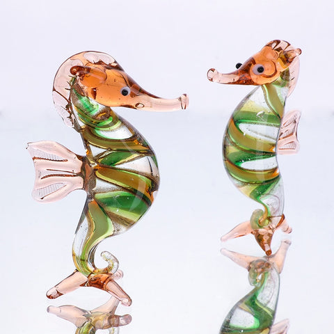 H&D Mini Glass Seahorse Sculpture Wild Life Collectible Figurines Hand Blown Glass Art Home Table Decor Birthday Christmas Gift