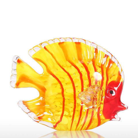 Hand Blown Glass Art  - Yellow Fish