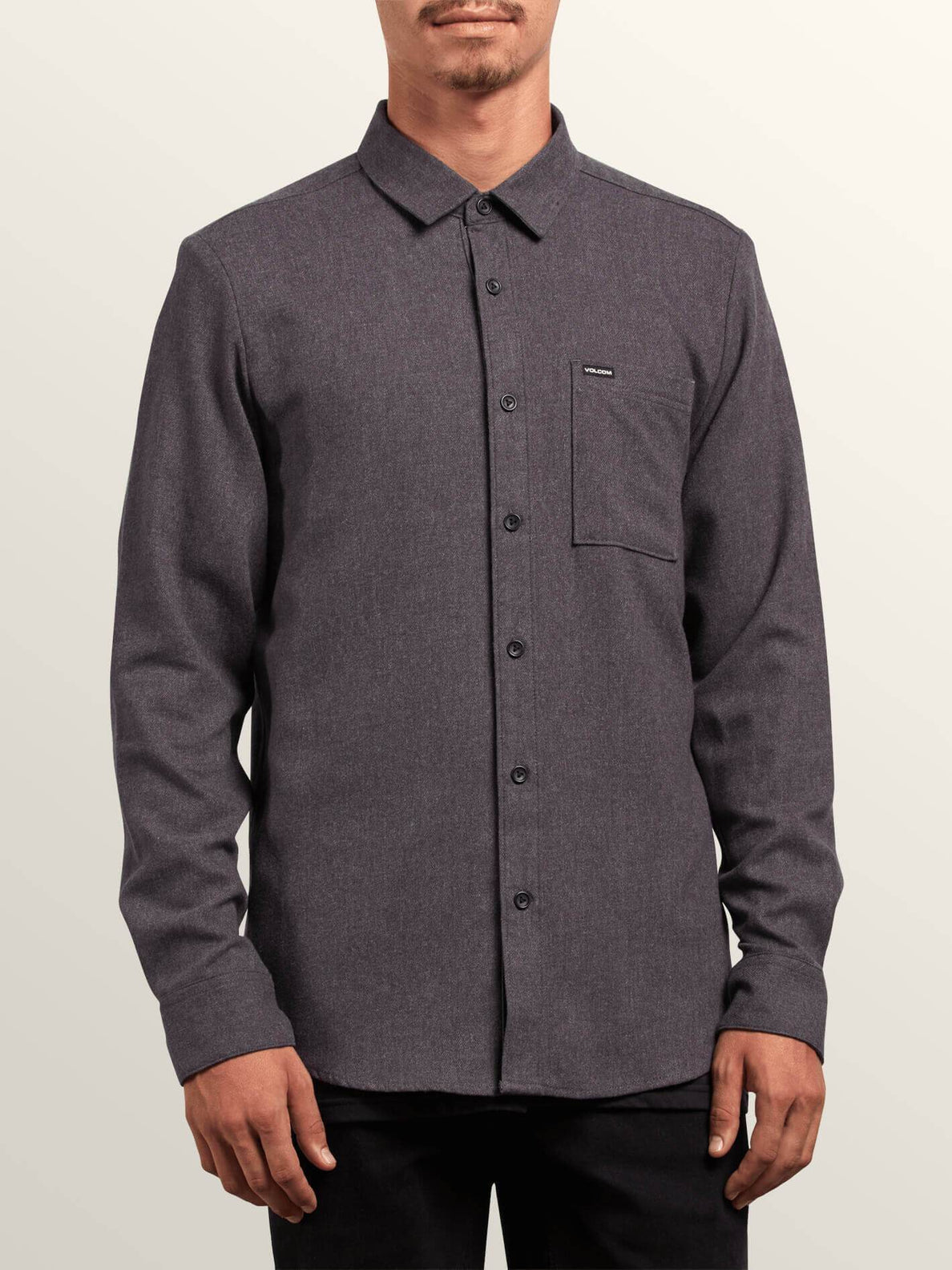 Caden Solid Long Sleeve Shirt - Asphalt Black