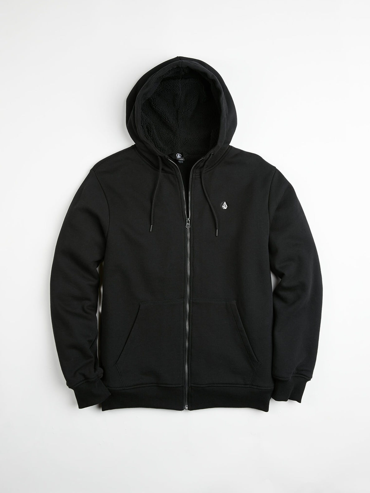 Single Stone Lined Zip Hoodie - Black