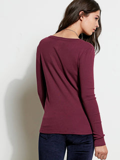 GMJ Rib Long Sleeve Top - Mulberry