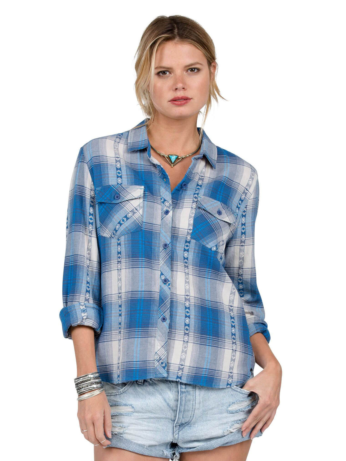 Kindling Long Sleeve Flannel - Electric Blue