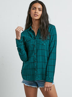 Street Dreaming Long Sleeve Flannel - Midnight Green