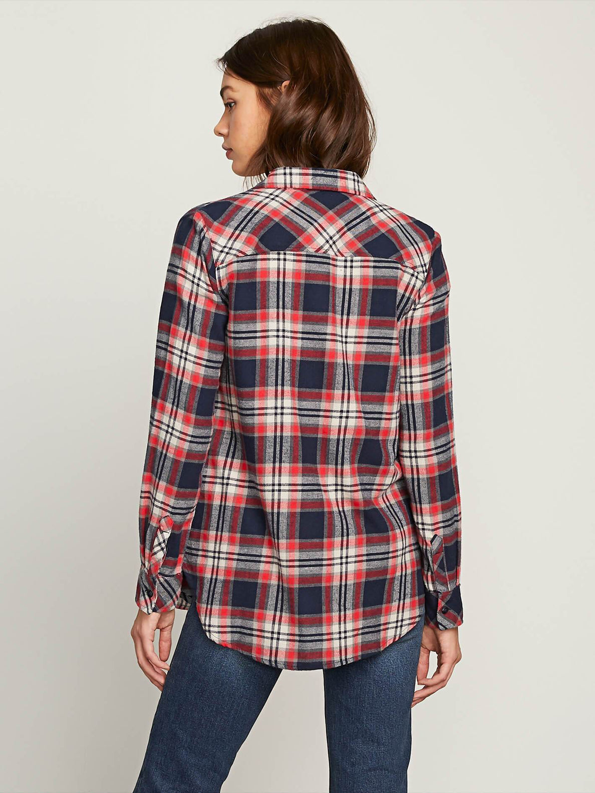Getting Rad Plaid Long Sleeve Flannel - Sea Navy