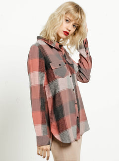 Fly High Long Sleeve Flannel - Mauve