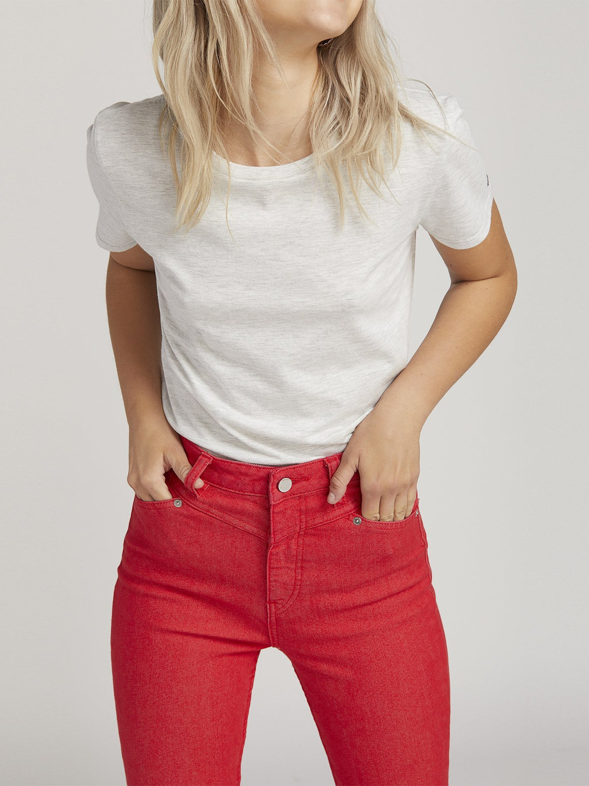 Gmj High Rise Jean  - Red