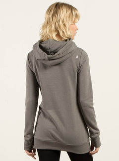 Walk On By High Neck Hoodie - Charcoal