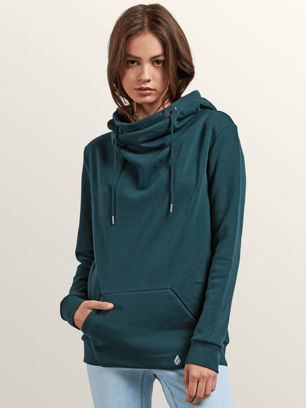 Walk On By High Neck Hoodie - Evergreen