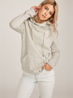 Walk On By High Neck Hoodie - Heather Grey