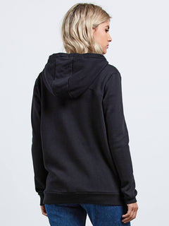 Walk On By Zip Flce Sweater - Black
