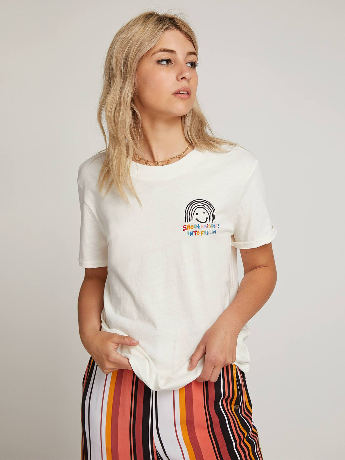 OZZIE RAINBOW T-SHIRT - WHITE