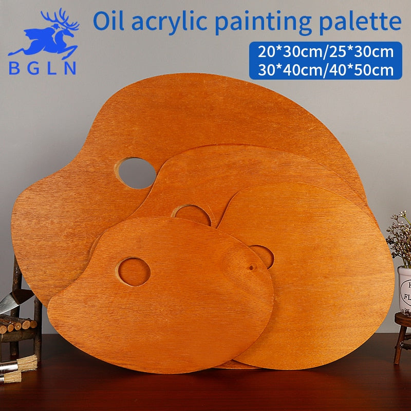 Wooden Walnut Color Oval Oil Painting Palette - The Paint By Number