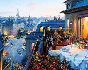 Paris Dinner for Two - DIY Paint by Numbers Kit - The Paint By Number