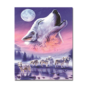 Wolf Howling - Paint By Numbers Kit - The Paint By Number