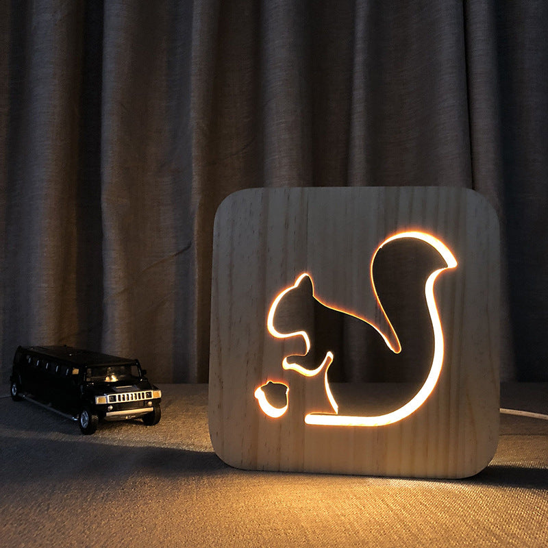 Solid Wood Squirrel Night Light