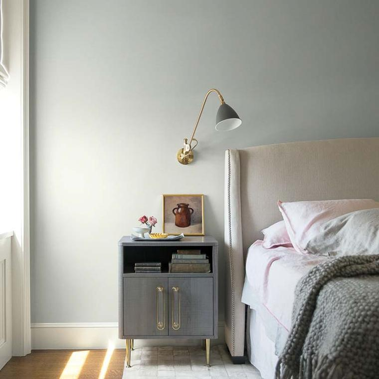 Benjamin Moore's AF-680 Metropolitan in a bedroom with grey and pink accents.