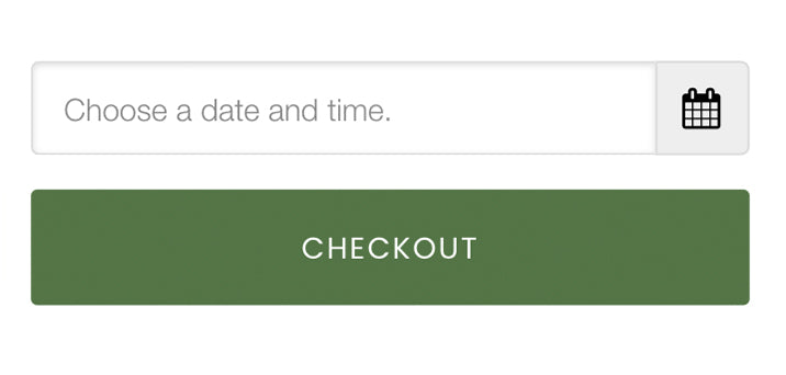 A screenshot of Clement's Paint mobile website, showing where customers can select a date for store pick-up or delivery for their order, and the checkout button.
