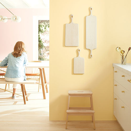 Color Trends 2020 color: 2152-50 Golden Straw by Benjamin Moore in a Kitchen.