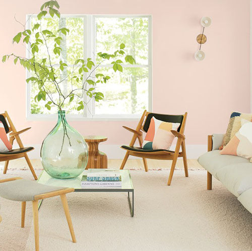 Color of the Year 2020: 2102-70 First Light by Benjamin Moore in a family room.